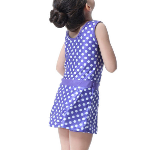 Kids Girls Polka Dot Sleveless Swimdress Swimsuit Hat Set Arab Burkini Beachwear