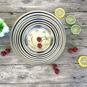 Camping-Stainless-Dish-Plate-Round-Dinner-Plates-Tablewares-Utensils-Tools-g