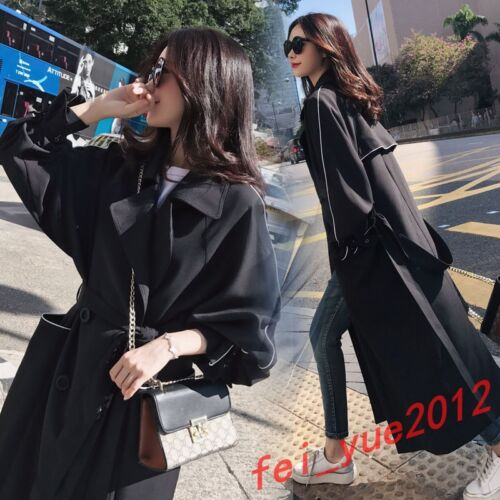 Womens Chic Double-breasted Full Long Trench Lapel Coats Belted Jackets Outwear