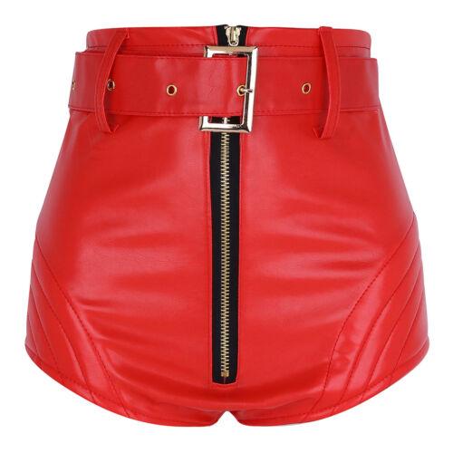 Women Casual High Waisted Short PU Leather Mini Slim Party Shorts Hot Pants Belt