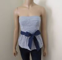 Hollister Womens Strapless Striped Tube Top Size Small Ribbon Bow Blue