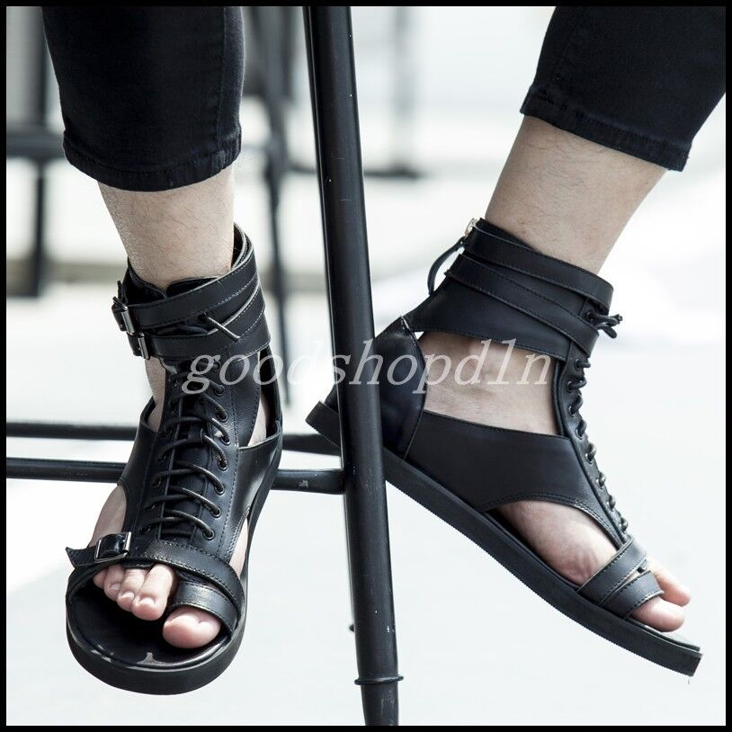 Uomo gladiator Beach Sandals High Top Pelle Lace leisure Up leisure Lace Retro Roman Scarpe 90ab24