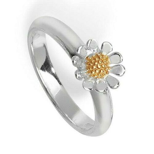 R British Made Details about  /Sterling Silver Daisy Ring 925 hallmark Gold Detail Size J
