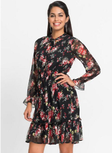 Floaty Georgette Black  Rose Print Fit and Flare Tea Dress with Tie Neck Detail