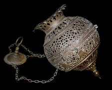 ANTIQUE PIERCED BRASS INDIAN ELEPHANTS TEMPLE LANTERN CHANDELIER CANDLE INCENSE