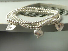 Set of 3 Sterling Silver 925 Stretch Bead Personalised Heart Stack Bracelets
