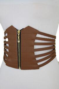 f5e3595376e Women Wide Elastic Fashion Hip High Waist Brown Corset Belt Gold ...