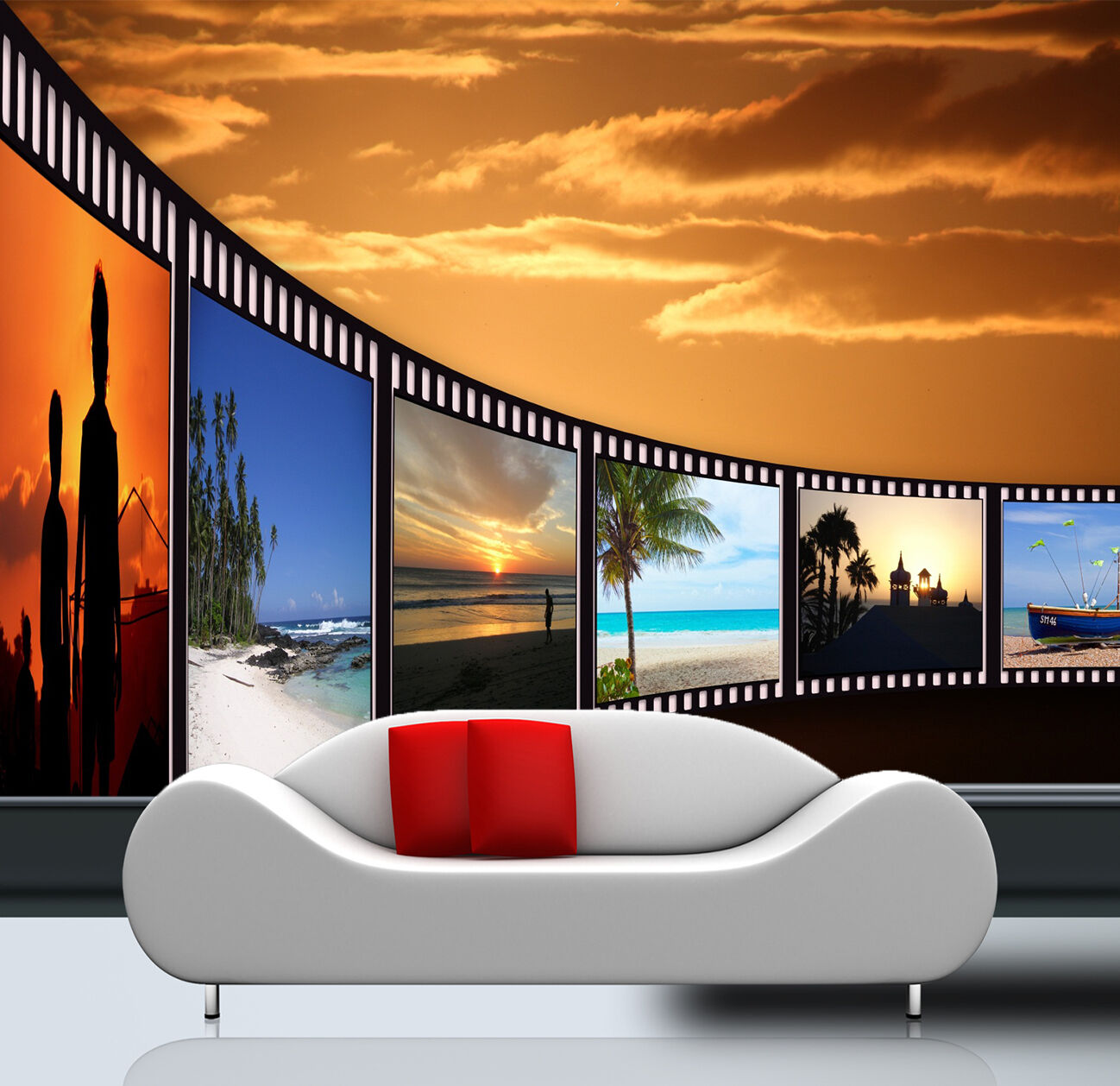3D photo film beach sunset Wall Paper Print Decal Wall Deco Indoor wall Mural