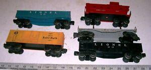 5-Vintage-Lionel-Freight-Train-O-O-27-Gauge-Cars-2-Gondola-Flat-Box-Car-Caboose