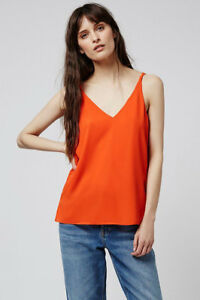 f6faba32c3 TOPSHOP Double Strap V-Front Cami Top in Fluro Orange Size 6 to 16