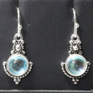 Women-039-s-Long-925-Silver-Moonstone-Dangle-Hook-Earrings-Wedding-Jewelry-Gift