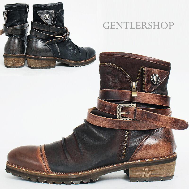 MENS Wrinkle Shirring Brogue Wrap Wrap Wrap Belt Zipper Leather Stiefel bx01, GENTLERSHOP ca0296