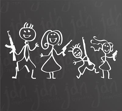Gun Stick Family Decal Sticker Molan Labe 2nd Amendment 3/% Trump Pistol Funny