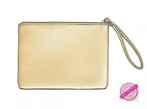Cynthia Rowley GO Flat Metallic Gold Designer Pouch//Clutch Authentic /& Sealed