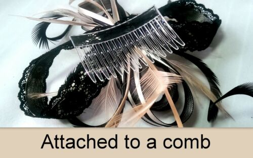 Alice band or clip Nude and black lace fascinator with bead cluster on comb