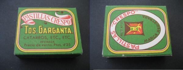 Original Antigua Caja Carton Farmacia. Pastillas Crespo. Tos, Garganta Una Amplia SeleccióN De Colores Y DiseñOs