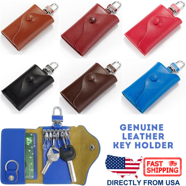 182ae59edc7c Leather Key Case Wallet Pouch 6 Snap Closure Hooks 1 Key Ring Card Slots