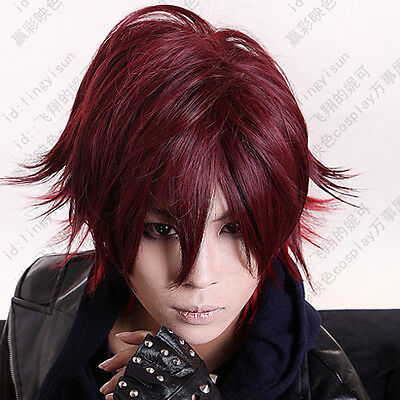 170 Amnesia Shin Short Dark Red mix Cosplay Costume Wig free wig cap