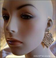 Gold Nugget Hammered Metal 3 Pave Crystal Triangular Drop Hook Earrings