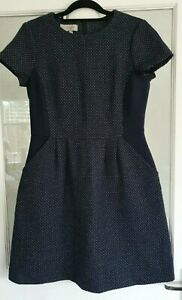 HOBBS 80% Wool A Line Dress Size 12 Navy Blue Polka Dot Slant Pockets Smart Work