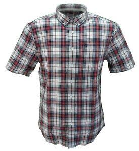 Farah-Hombre-Rojo-Negro-Blanco-Cuadros-100-Cotton-Camisa-de-Manga-Corta