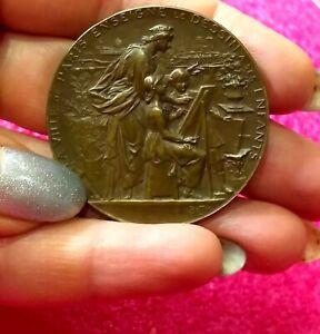 1897-Paris-Children-Vintage-Art-Nouveau-French-bronze-medal-by-Louis-Bottee