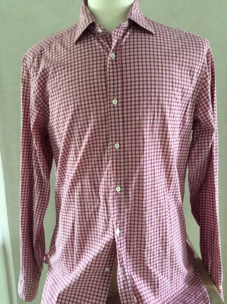 Coast Mens Red White Long Sleeve Cotton Button Front Plaid Shirt Size Large