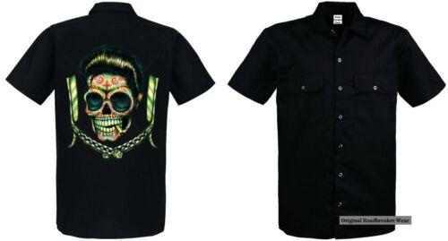 Worker shirt noir Greaser rockabilly tatouage /&/' 50 style motif Greaser Blades