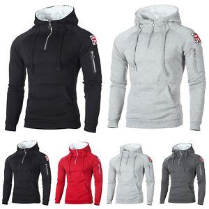 Mens-Winter-Fleece-Lined-Hoodies-Warm-Jumper-Hooded-Coat-Zipper-Outwear-Sports