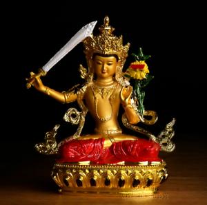 "8.3/""Tibet Tibetan Buddhism Resin Lotus Green Tara Kwan-yin GuanYin Buddha Statue"