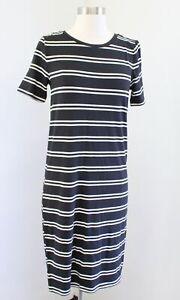 NWT Ann Taylor Loft Black White Striped Short Sleeve T-Shirt Tee Dress Size S