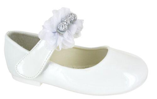 KIDS GIRLS FLAT CHILDREN INFANTS DIAMANTE DOLLY PUMPS WEDDING PARTY SHOES SIZE