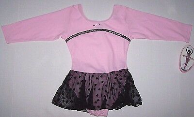 Nwt New Moret Leotard Leo Dress Skirt Skirtall Camisole Pink /& Black Heart Girl