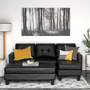Incredible Details About Modern Black Leather 3 Seater Sectional Sofa Couch Chaise Lounge And Ottoman Set Squirreltailoven Fun Painted Chair Ideas Images Squirreltailovenorg