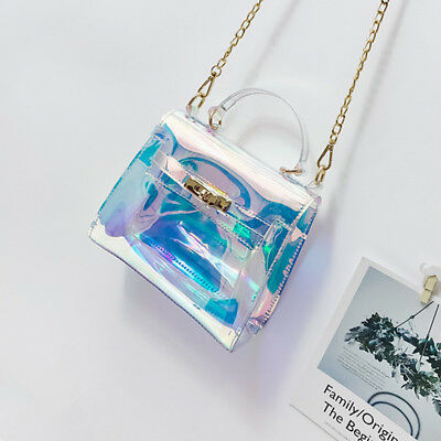 Transparent Laser Holographic Flap Bag Lady Jelly Tote for Women Purses Handbags
