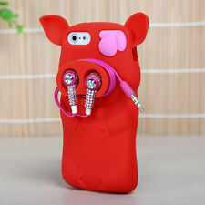 For iPhone 5 5S SE Rubber SILICONE Soft Gel Skin Case Phone Cover Red Pig Nose