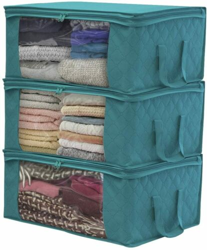 3x Foldable Underbed Clothes Storage Bag Ziped Organizer Boxes Wardrobe Cube Set