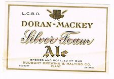 Unused 1930s Doran-Mackey Silver Foam Ale Sudbury Ontario CANADA Beer Label