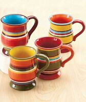 Striped Contemporary Set Of 4 Mugs Cups Southwest Dinnerware Kitchen Table Decor