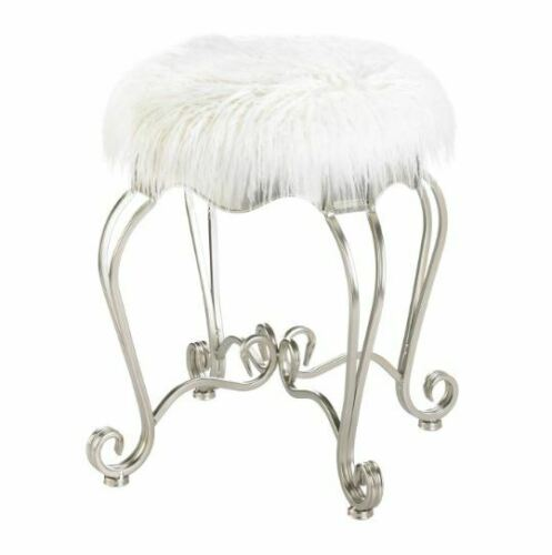 Home Garden Bathroom Vanity Stool Makeup Chair Faux Fur Metal White Silver Desk Glam Office Furniture
