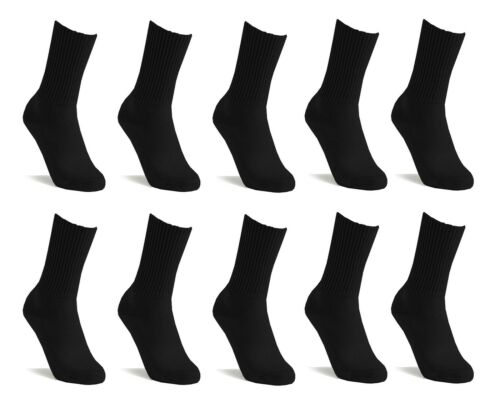 White Pack 10 x Mens Plain Thick Warm Cotton Socks Winter Sports,Work in Black