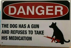DANGER-DOG-Rustic-Look-Vintage-Tin-Metal-Sign-Man-Cave-Shed-Garage-amp-Bar