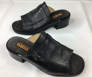 Ariat-Womens-Size-6-B-Black-Leather-Open-Toe-Slides-Sandals-Mules-Shoes