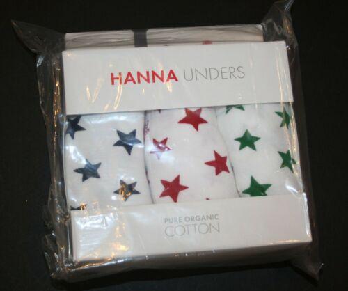 New Hanna Andersson Unders 3 Pack Boxer Briefs Boys Underwear XL 14 16 Yr Stars