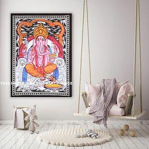 LORD-GANESHA-BATIK-Indian-Cotton-Poster-Wall-hanging-Tapestry-Decorative-Hippie