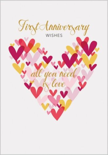PRETTY COLOURFUL HEARTS ALL YOU NEED IS LOVE 1ST PAPER ANNIVERSARY CARD