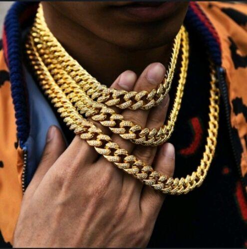 Hip Hop or Argent Glace Out Collier Miami Cubain Diamant Ras Pendentif Bijoux