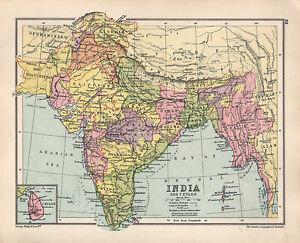 Madras India Map.1934 Map India Ceylon Mysore Bengal Bombay Madras Burma Punjab