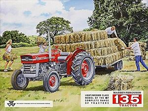 METAL-MASSEY-FERGUSON-135-WALL-TIN-SIGN-PLAQUE-GARAGE-SHED-TRACTOR-GIFT-FARMING