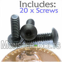 4-40 X 3/8 - Qty 20 - Button Head Socket Cap Screws Alloy Steel Black Oxide
